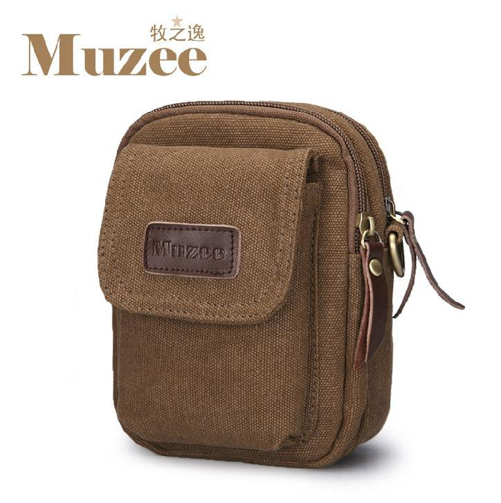 Muzee Waist Pouch Multi-functional Leisure Canvas Pocket Purse Bag