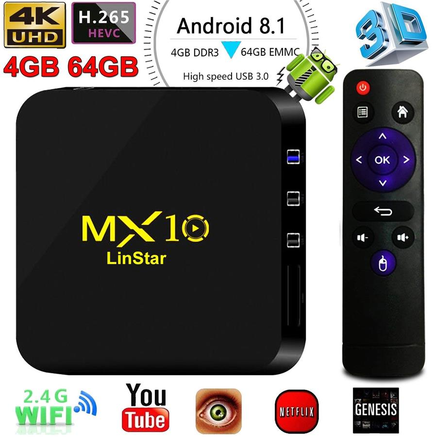 MX10 Android TV Box 8 1 Rockchip RK3328 Quad-core 4+64GB IPTV-4K