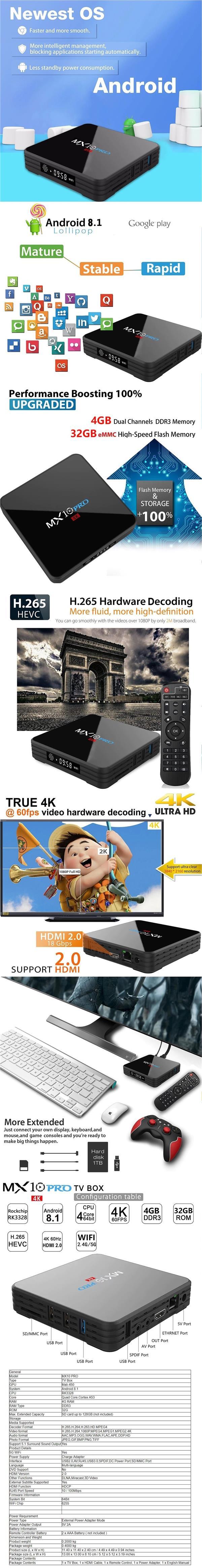 MX10 PRO 4G+32G Rockchip RK3328 Android TV Box /Bluetooth /4K/ IPTV