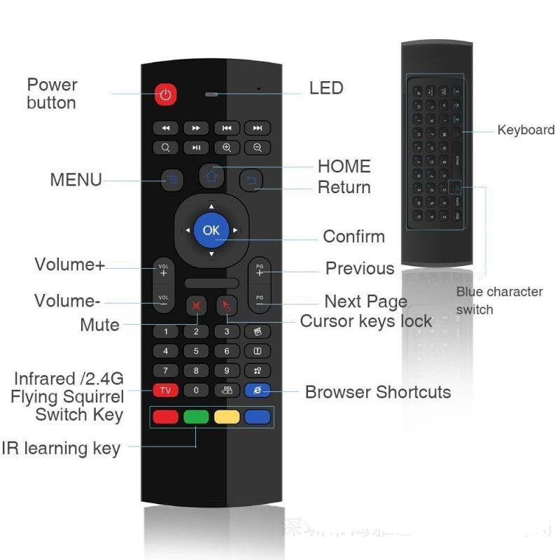 MX3 Airmouse Air Mouse Wireless Keyboard Android TV Box Mibox PC
