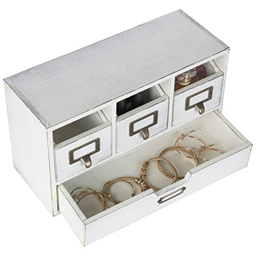 MyGift Vintage White Wood 4-Drawer Desktop Organizer/Shipping from U.S.A.