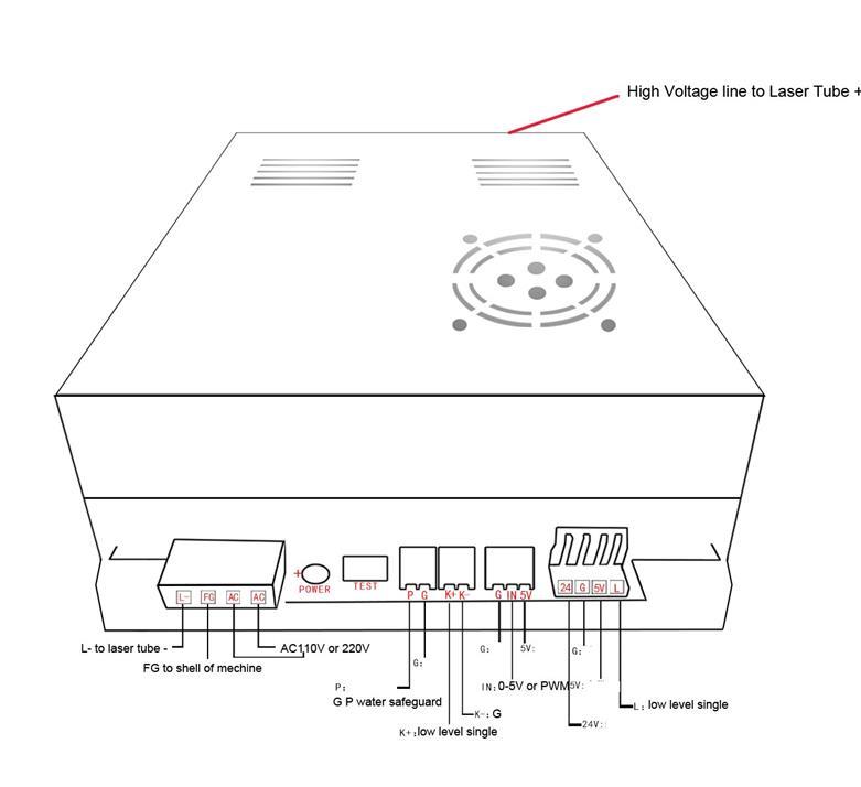 MYJG-40 40W 50W CO2 Laser Power Supply PSU 3020 4060 Machine