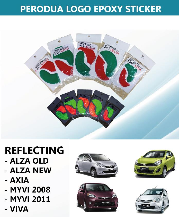 Myvi 05 15 alza viva axia night reflecting epoxy logo sticker