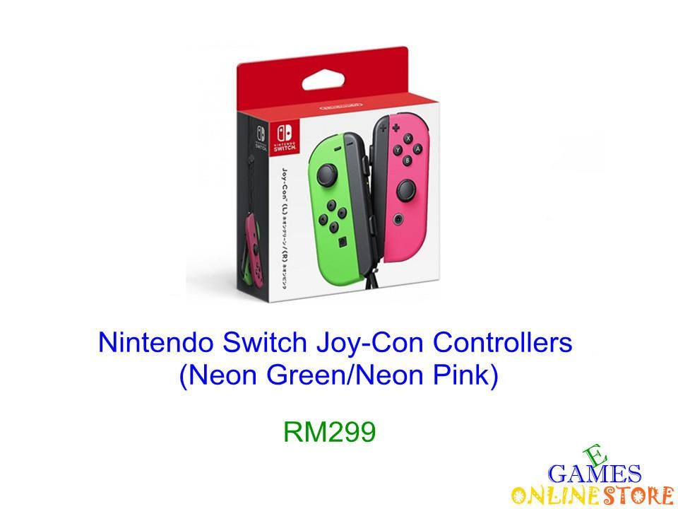 N.Switch Joy-Con Controllers (Neon Green/Neon Pink) ★Brand New &..