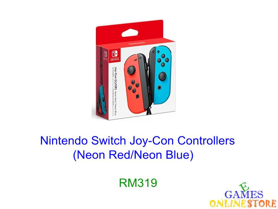 N.Switch Joy-Con Controllers (Neon Red/Neon Blue) ★Brand New & S..