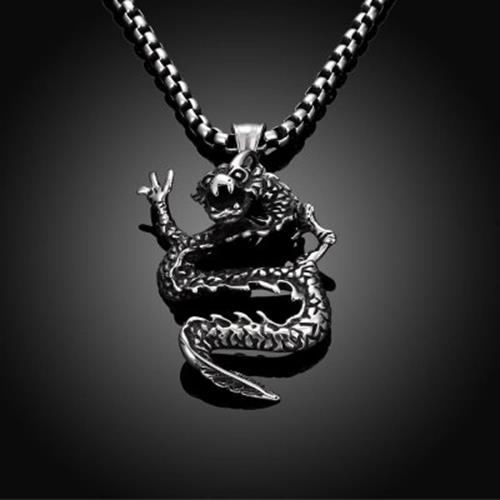 N048 TITANIUM FASHION CHAIN 316L STAINLESS STEEL VINTAGE PENDANT NECKLACE (SIL