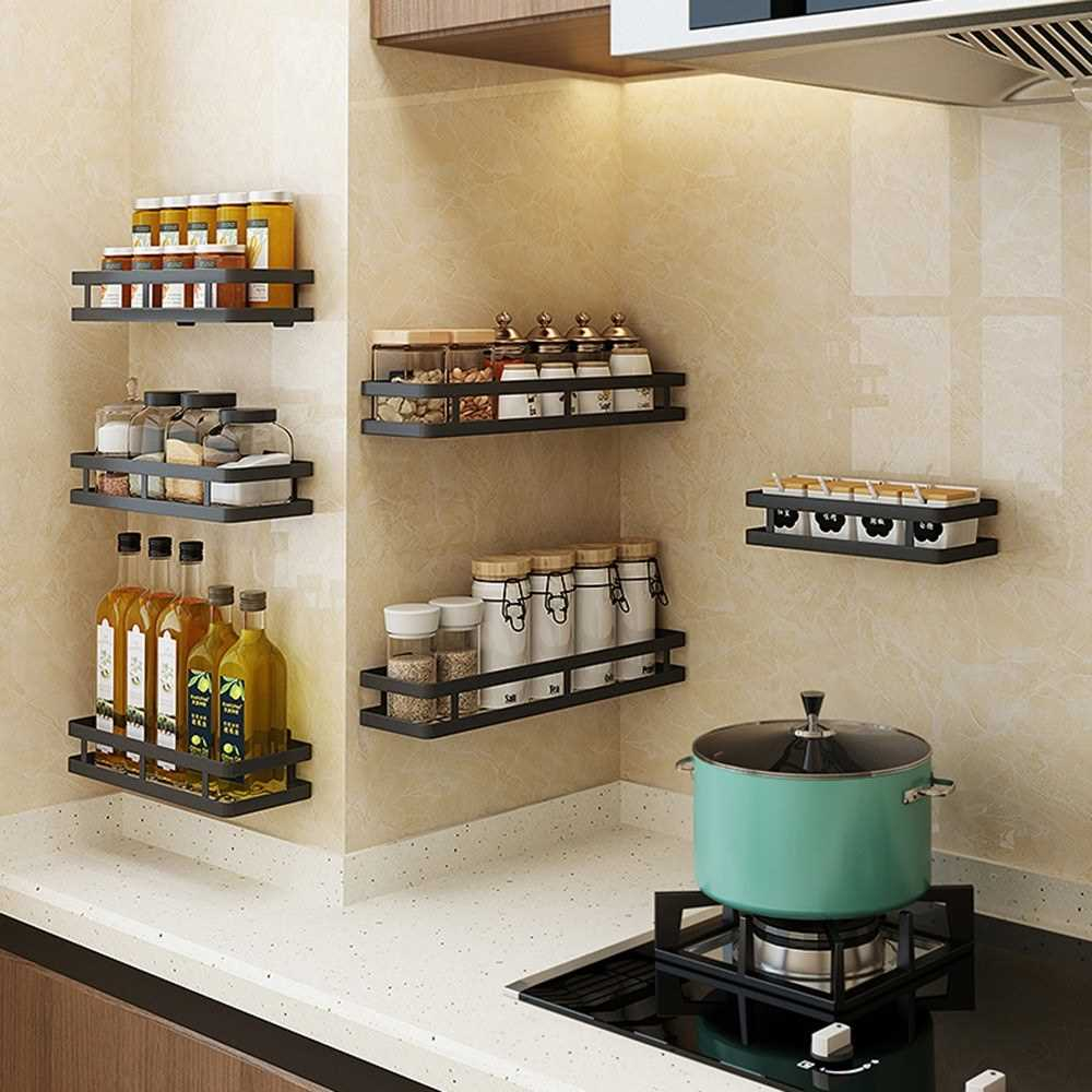 Nail-Free Stainless Steel Wall Storage Shelf Black Floating Shelf Spic