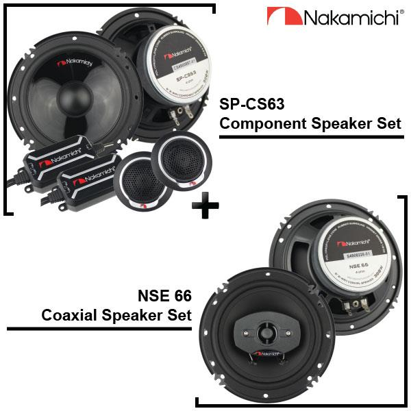 NAKAMICHI 6.5' SP-CS63 2-Way Component + NSE 66 Coaxial Speaker Set