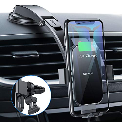 Nalwort Wireless Car Charger 15W Qi Fast Charge with Metal Frame Dashboard and