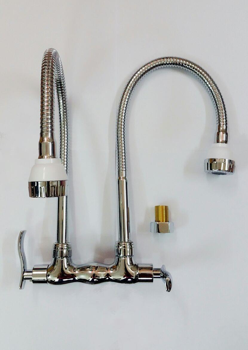 NASCO Double Flexible Kitchen Sink Wall Water Tap Faucet 818 819