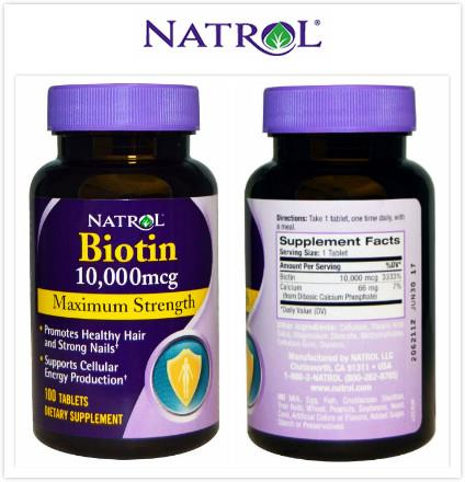 Natrol, Biotin, Maximum Strength, Supplements 10,000 mcg (100 Tablets)
