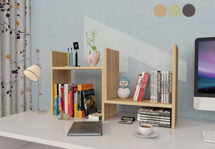 Natural Bamboo Desk Bookshelf For Office Home Expandable Tidy