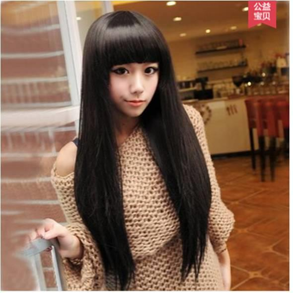 natural black straight wig/ kk2/ ready stock/ rambut palsu