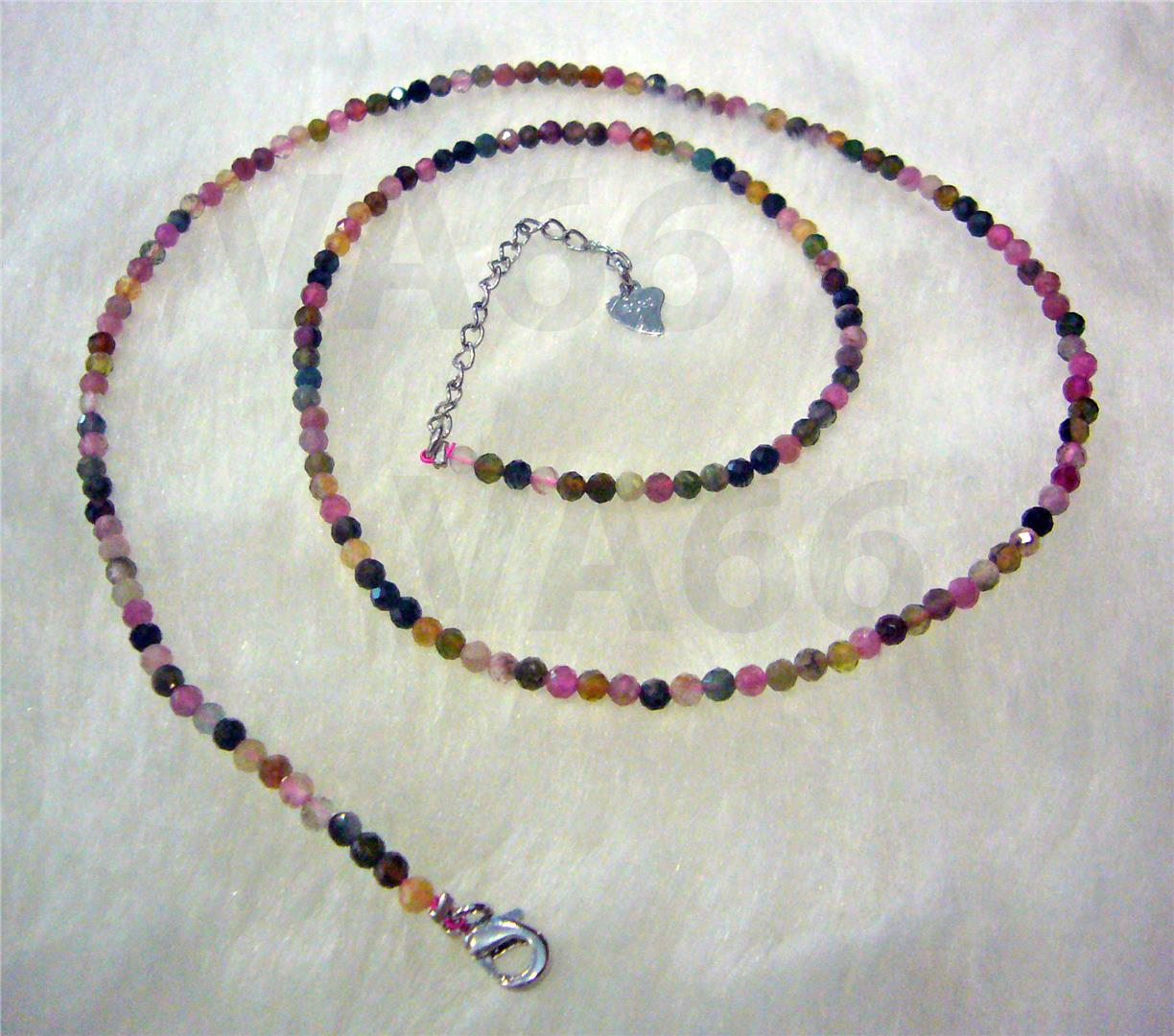 Natural Facetted Rainbow Tourmaline Gemstone Necklace Rantai Batu Asli
