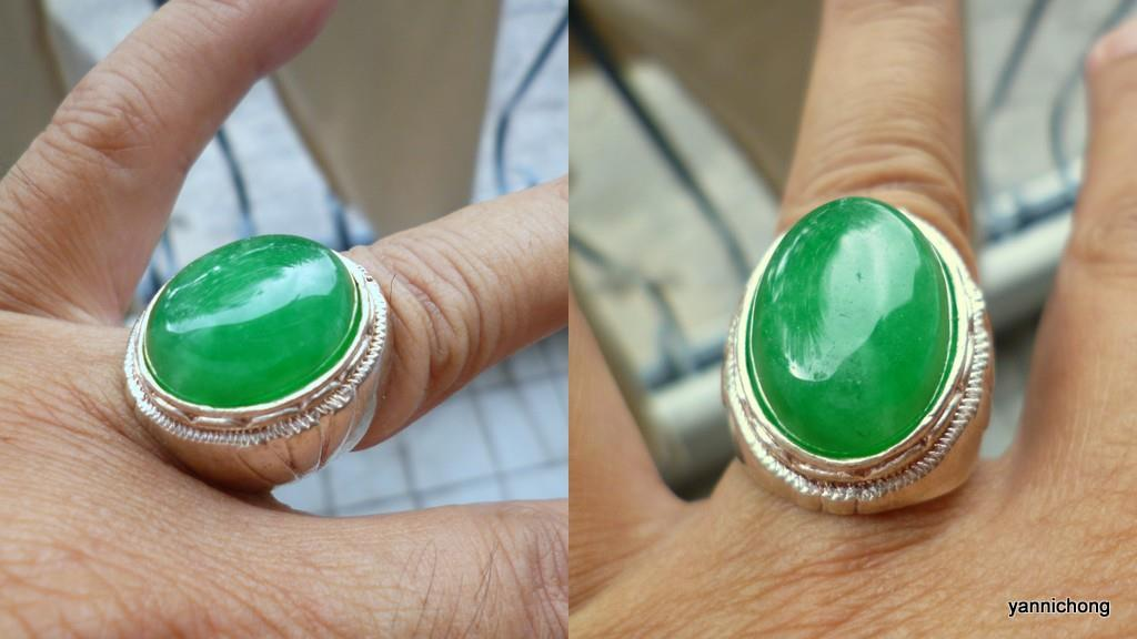 NATURAL GREEN  JADEITE SILVER RING