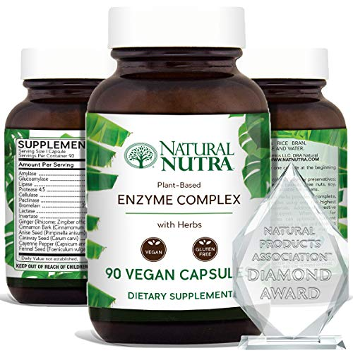 Natural Nutra Plant Based Digestive Enzyme Complex with Herbs, Prevents Stomac