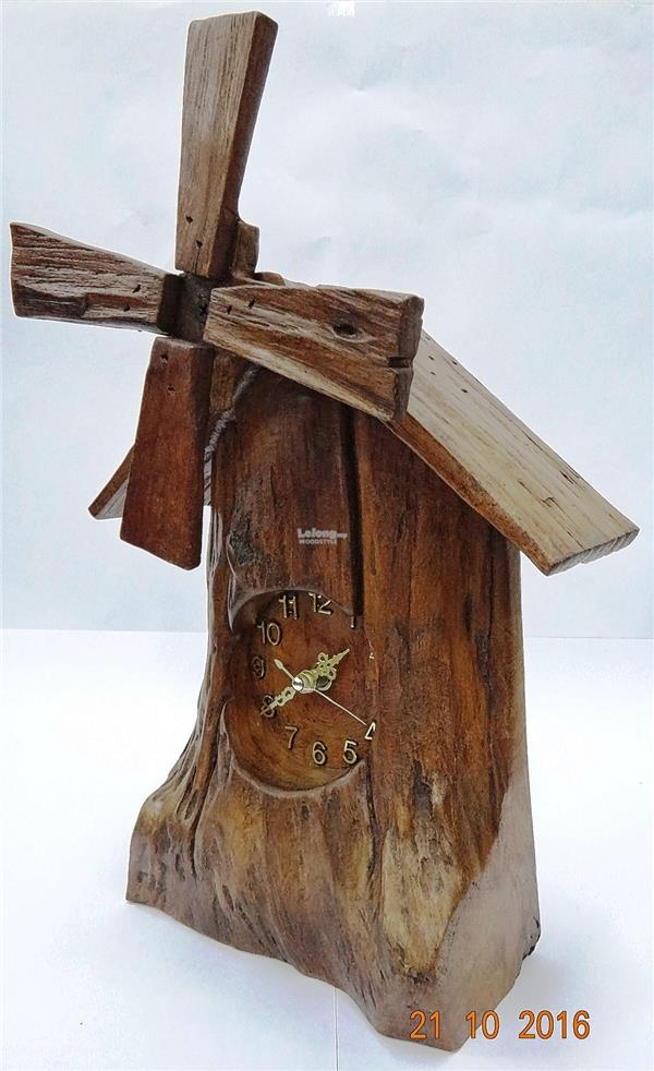Natural Rustic Driftwood Wall clock with Windmill design #004