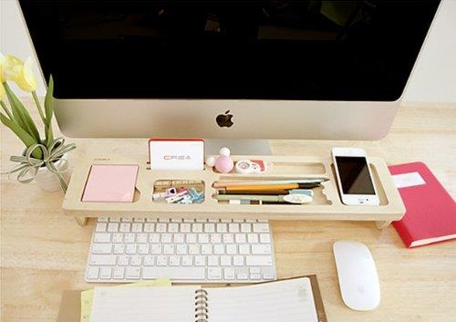Natural Wood Creative Multipurpose Desktop Organizer Shelf Over Keyboa