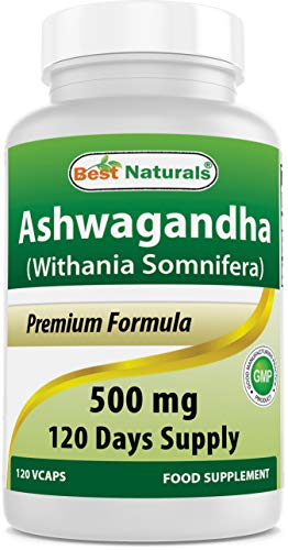 Best Naturals Ashwagandha Capsules for Relaxing Stress and Mood, 500 mg, 120 C