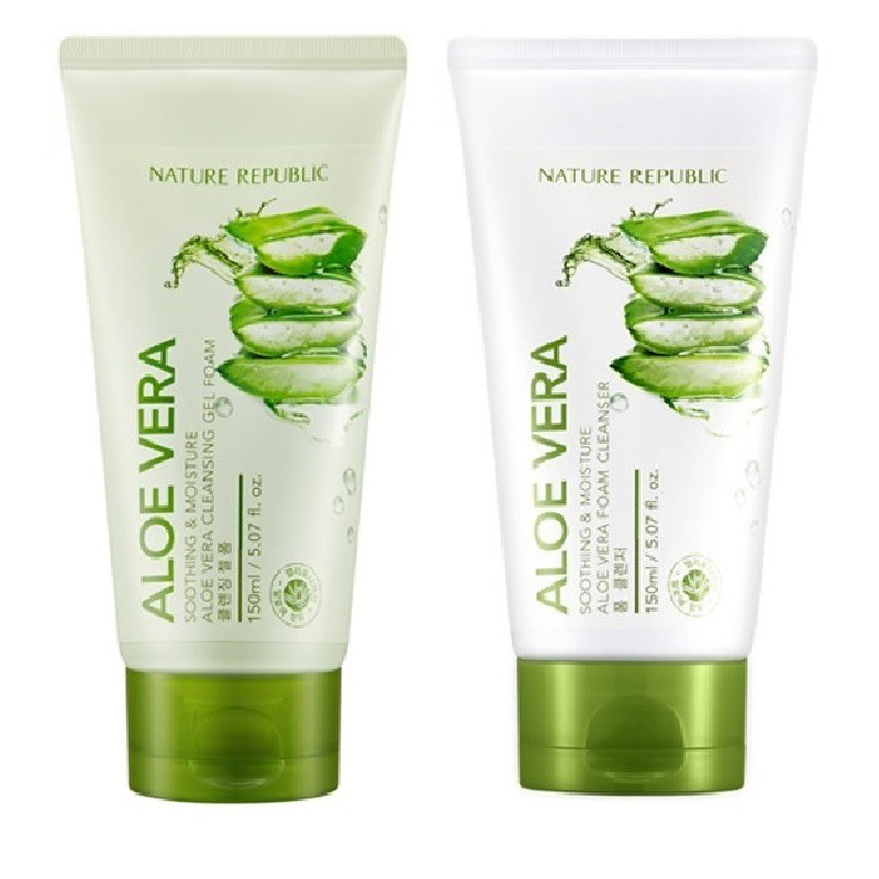 Nature Republic Soothing Moisture Aloe Vera Cleansing Gel Foam Cream. ‹ ›