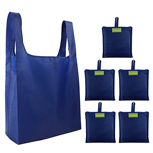 ~ Navy Reusable Grocery Bags Set of 5, Groceries Totes Foldable into Attached