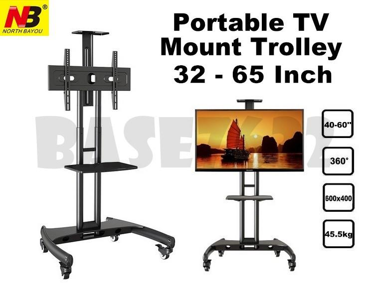 NB  AVA1500-60-1P 32 to 65 Inch TV Trolley Stand Cart Mount Bracket