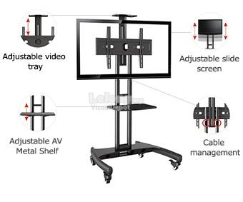 NB AVA1500-60-1P 32' to 65' Mobile TV Stand