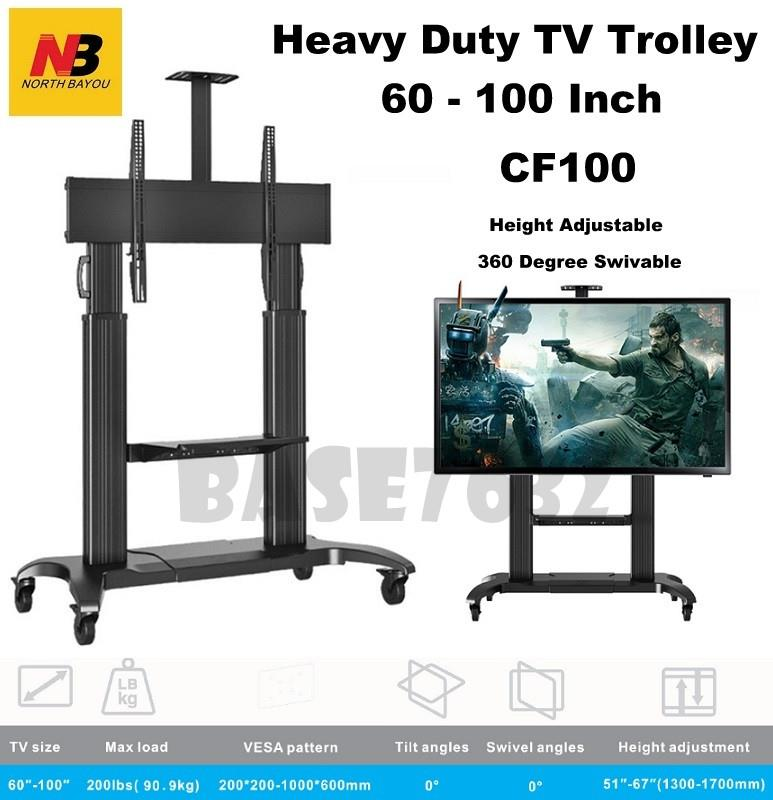 NB CF100 60 to 100 Inch Portable TV Trolley Cart Stand Mount Bracket