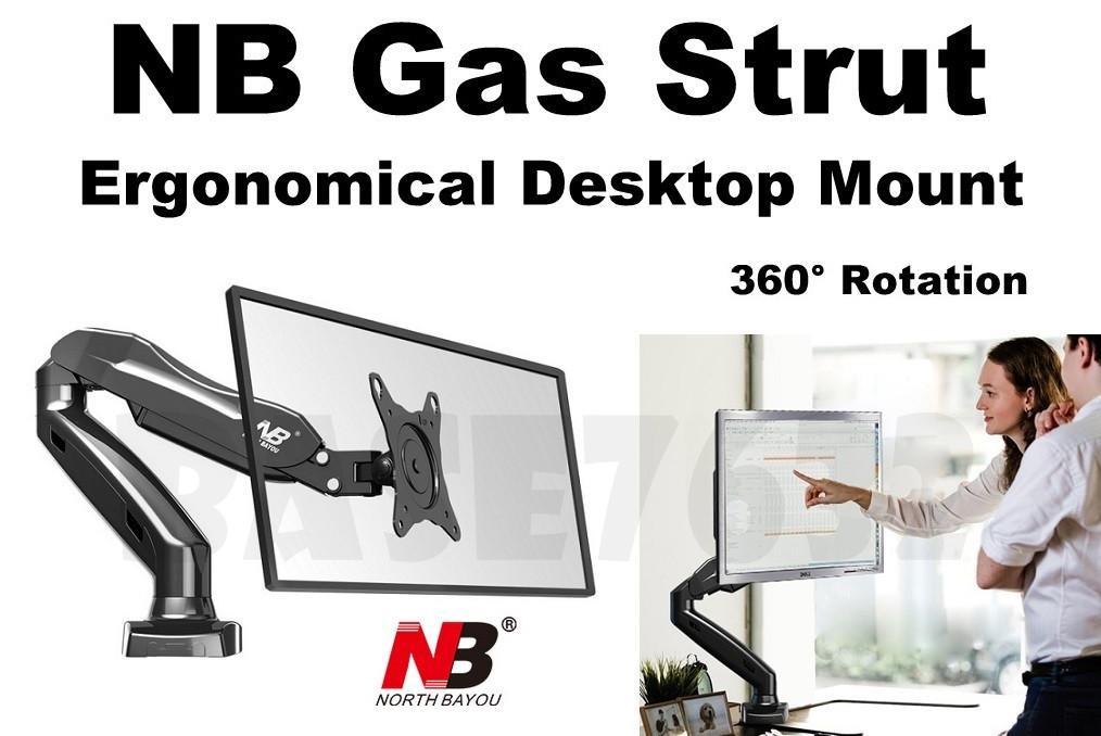 NB F80 17 to 27 Inch Gas Strut TV Monitor Desktop Bracket Holder Mount