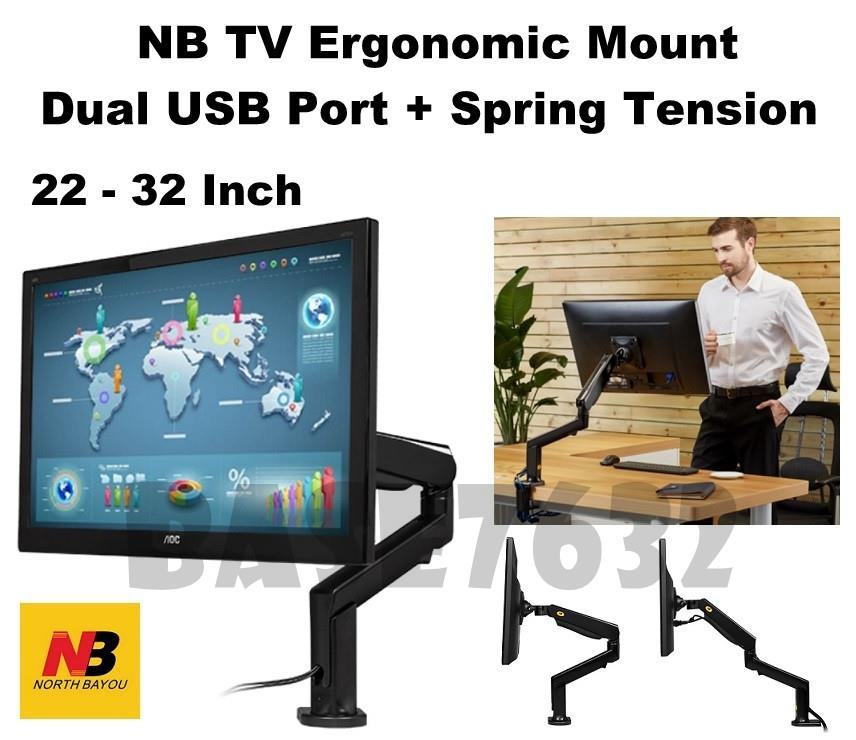 NB  F90A 22 to 32 Inch TV Monitor Bracket Holder Mount USB Port Spring