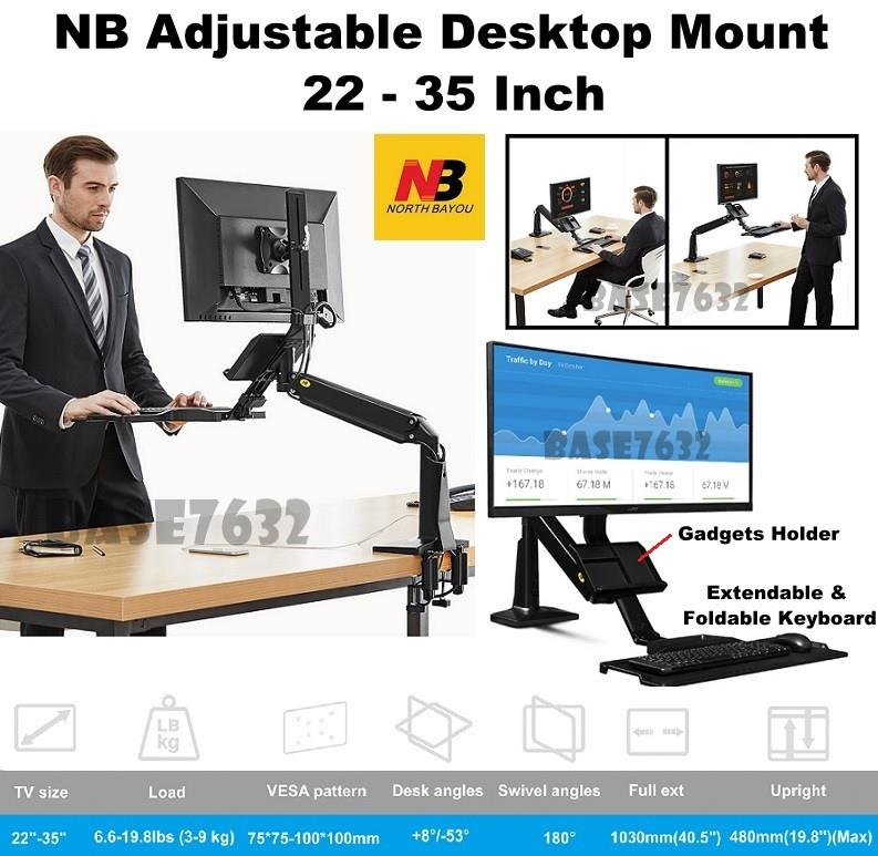 NB FC35 22 - 35 Inch Gas Strut TV Monitor Bracket Holder Mount 2 USB