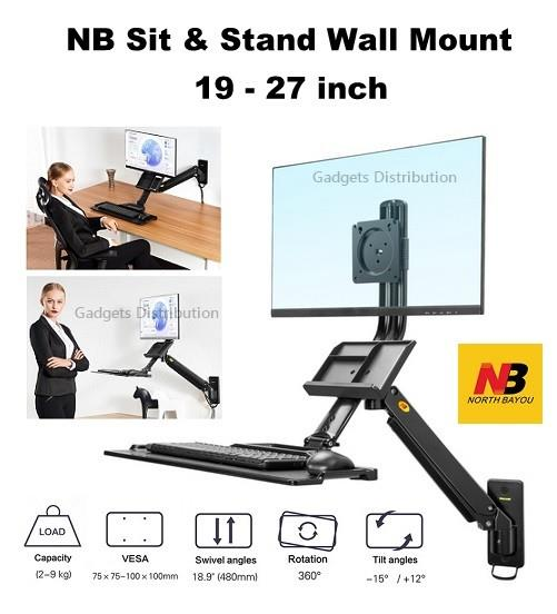 NB MB32 Gas Strut Sit & Stand Wall Mount Laptop Workstation 2646.1