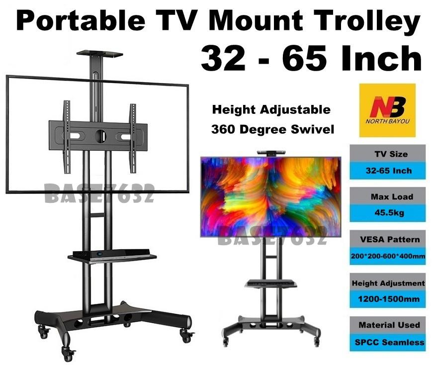NB US60/CA55  32 to 65 Portable TV Trolley Stand Mount Bracket Cart