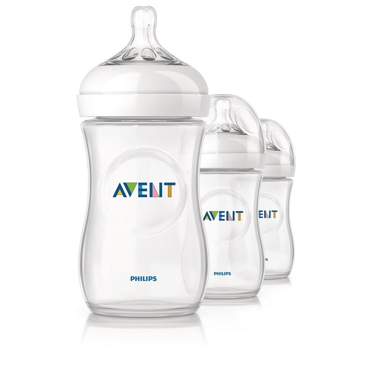 NB07: AVENT Natural Bottles 260ml/9oz Triple Pack (Made in ENGLAND)