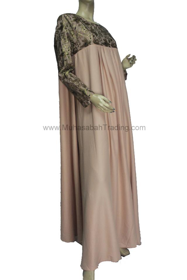 NDAJ004: Nursing friendly abaya jubah dress size 43 XL XXL NUDE BEIGE