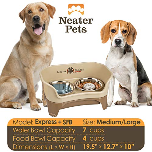 Neater Feeder Express (Medium to Large Dog, Cappuccino)  & Slow Feed Bowl Comb