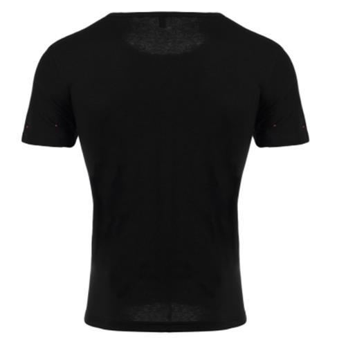 ROUND NECK SHORT SLEEVE PRINTED TRENDY T-SHIRT FOR MEN (BLACK) 3XL
