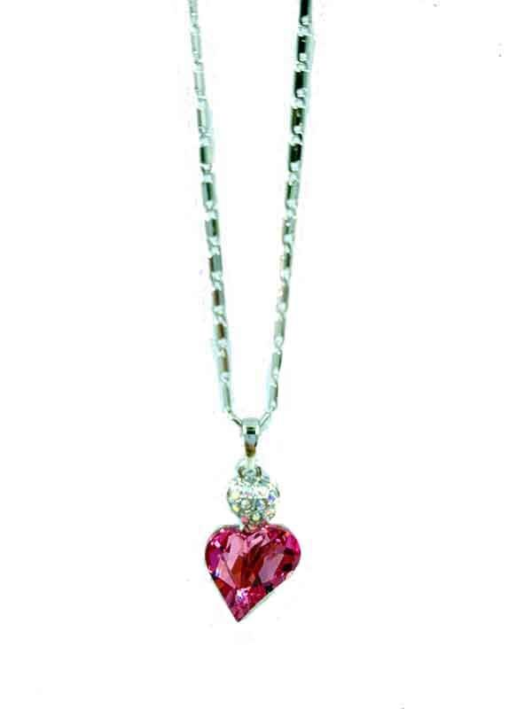 Necklace Love Shaped Pink Shine