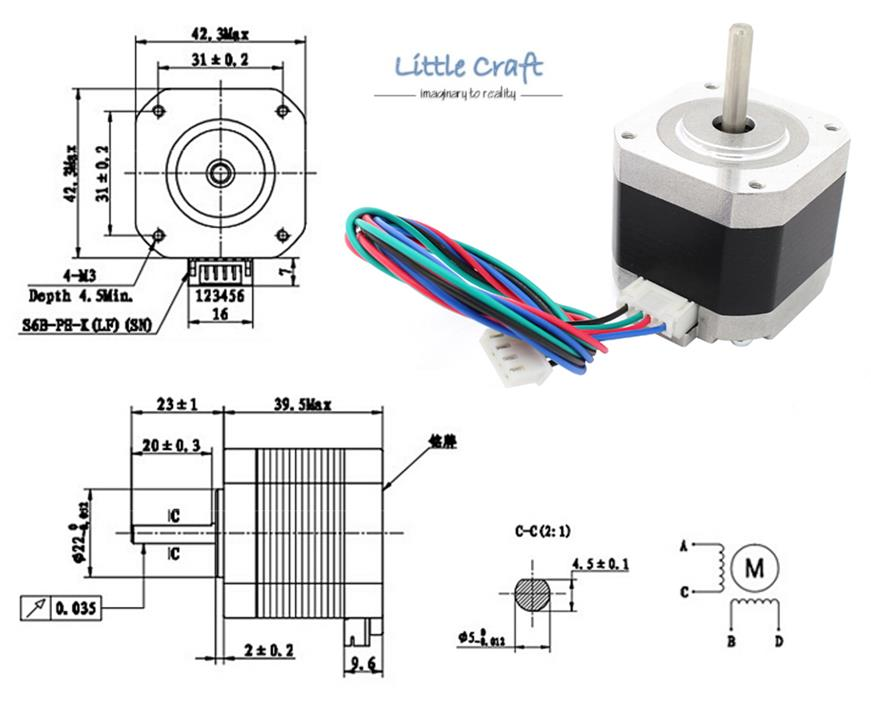 Nema17 / 42 Stepper Motor 1.5A 4-Lead for 3D Printer, CNC on