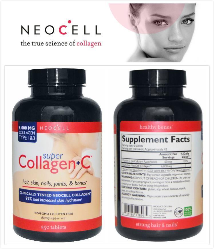 Neocell, Super Collagen + C, Type 1 & 3, 6,000 mg (250 tablets)