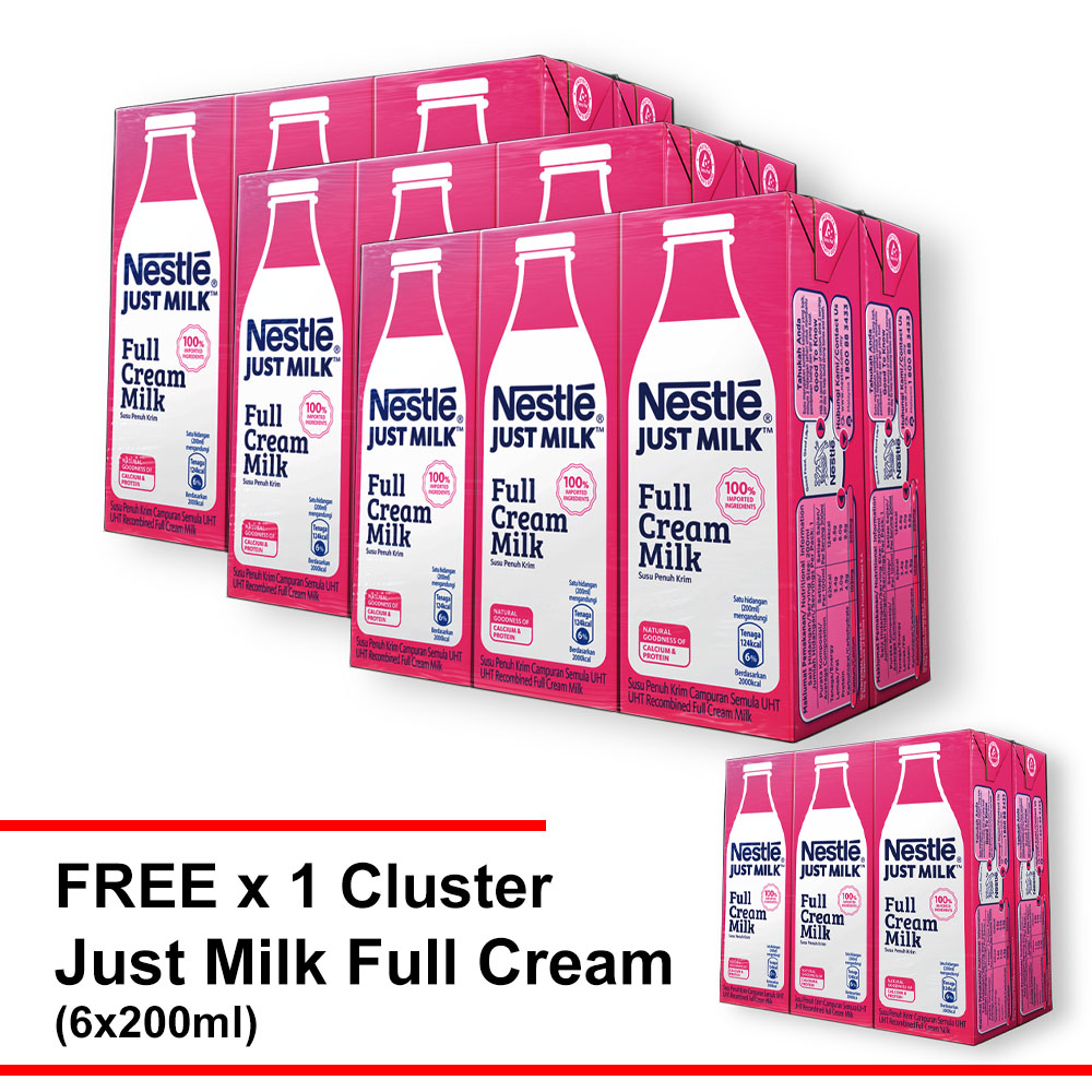 Nestle Just Milk Full Cream Milk 200ml , Buy 3 Cluster Free 1 Cluster