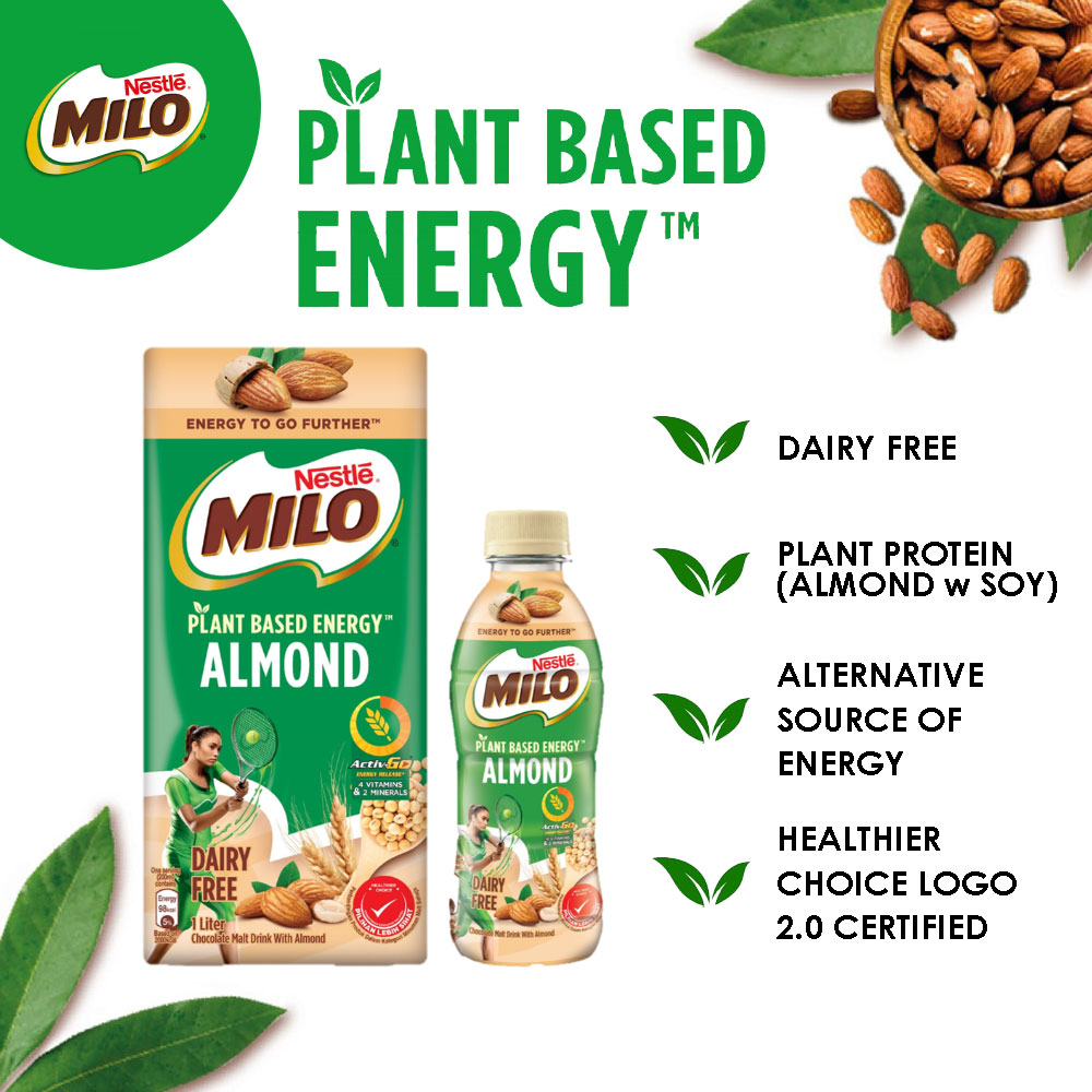Nestle MILO PLANT-BASED ACT-GO Almond UHT 1L x2 bottles