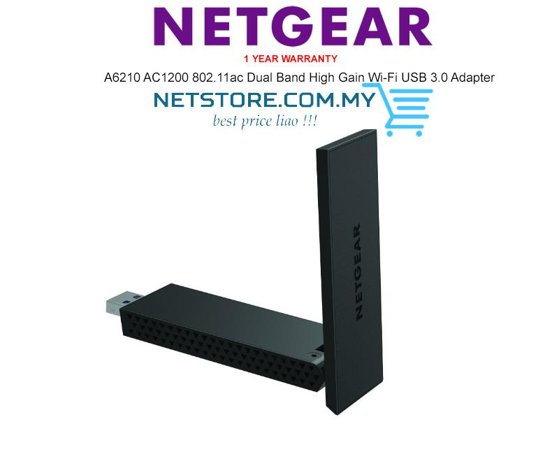 NETGEAR A6210 AC1200 802.11ac DualBand High Gain Wi-Fi USB 3.0 Adapter