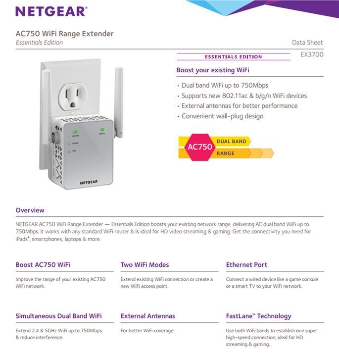 Netgear AC1200 WiFi Range Extender - Essentials Edition EX6120-100UKS