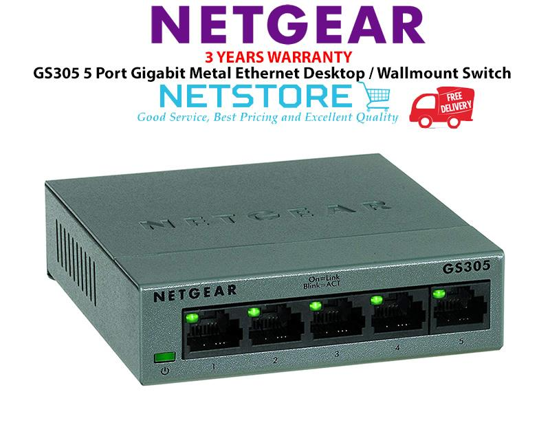 NETGEAR GS305-100UKS 5 Port Gigabit Ethernet Desktop/Wallmount Switch