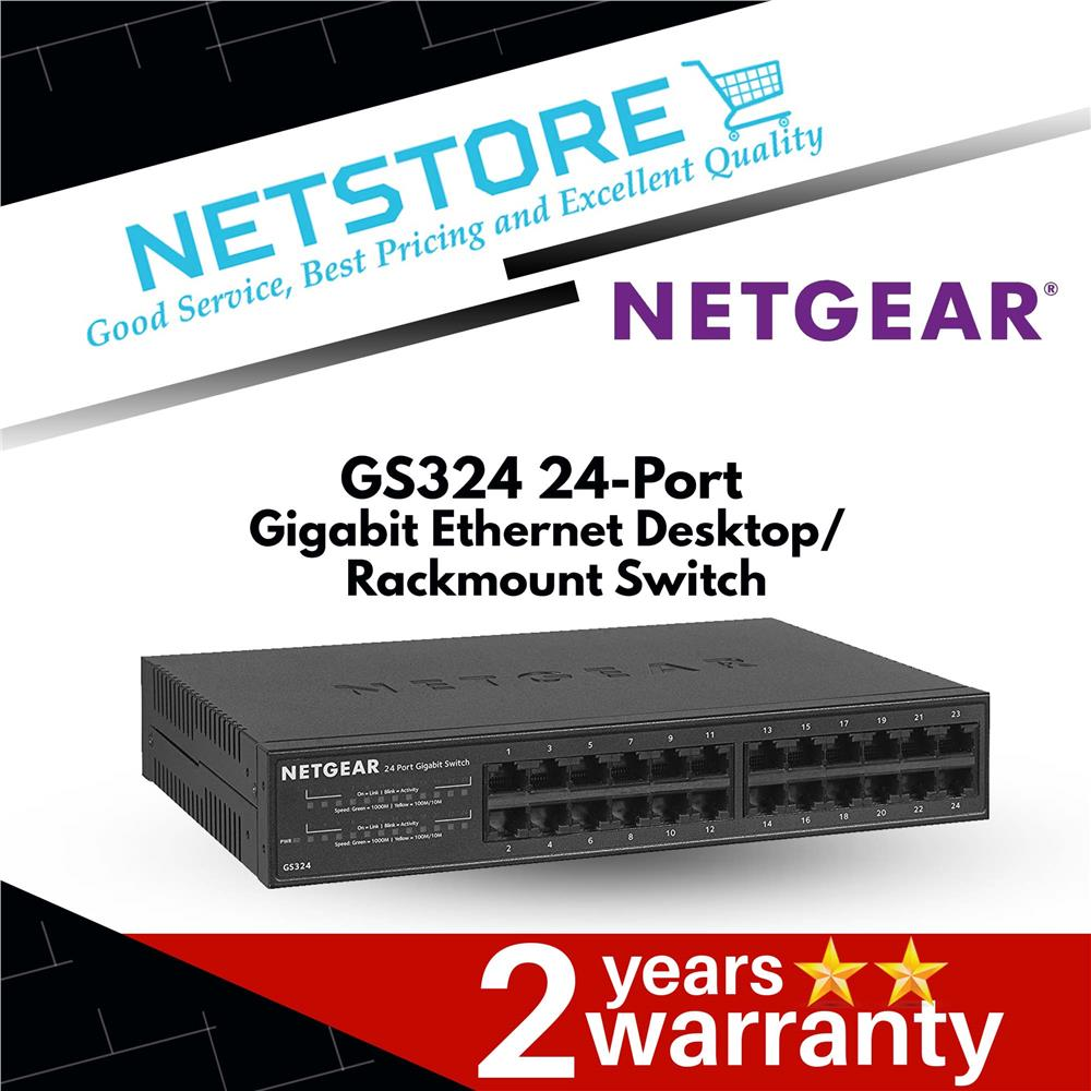 NETGEAR GS324 24-Port Gigabit Ethernet Desktop / Rackmount Switch