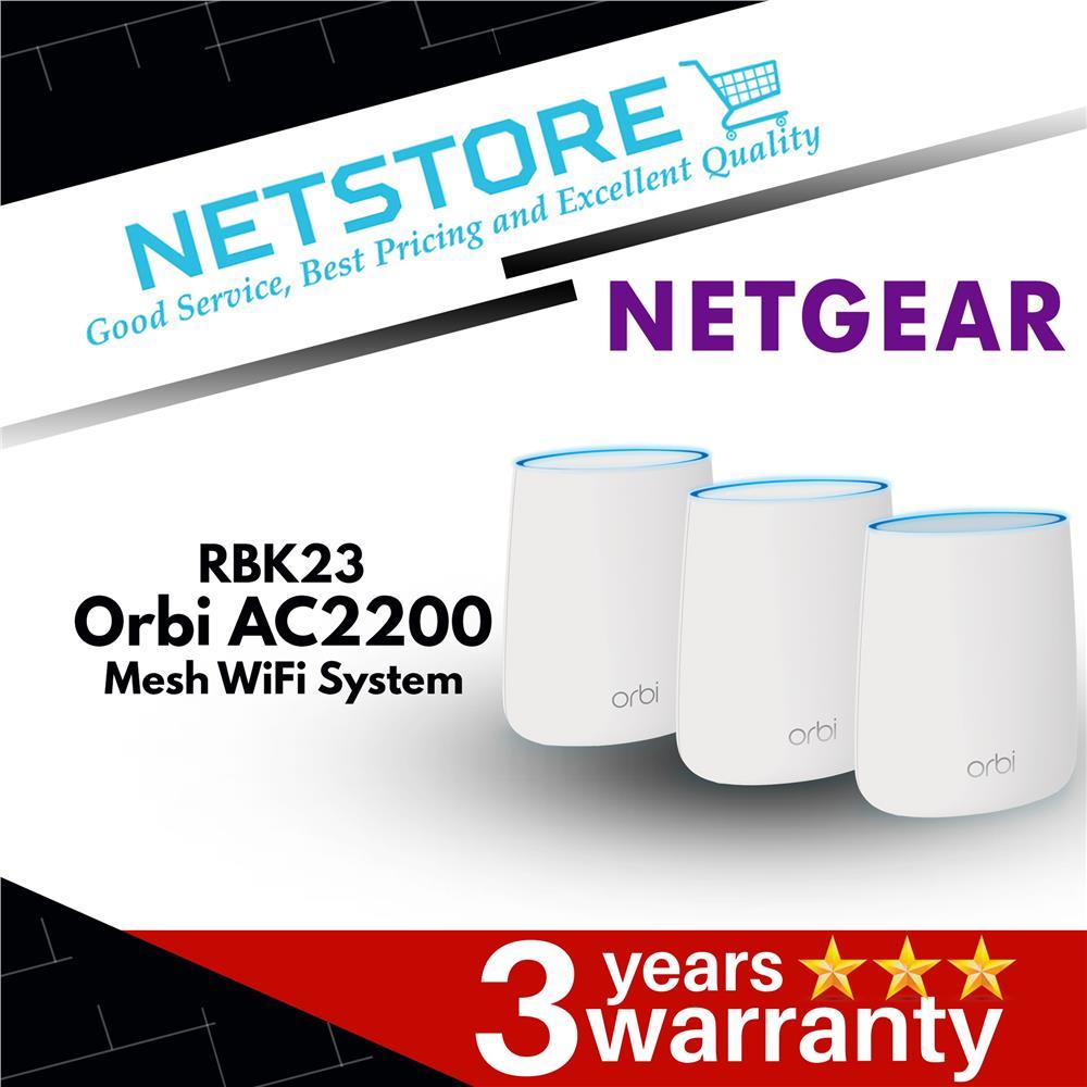 Netgear Orbi Whole Home AC2200 Tri-band Mesh WiFi System 3 Pack RBK23