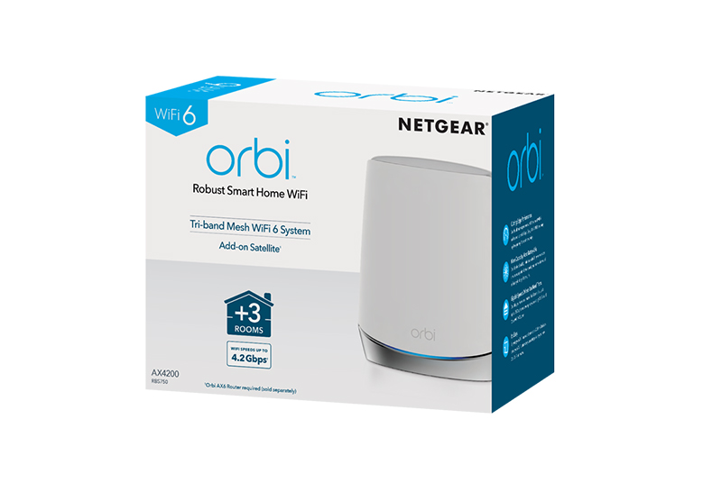 NETGEAR ORBI WHOLE HOME TRI-BAND WIFI 6 MESH WIFI SATELLITE - RBS750