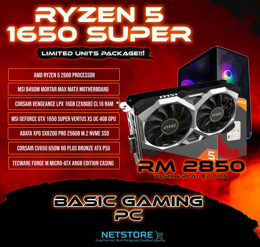 NETSTORE OCT 2020 - RYZEN 5 BUDGET GAMING PC & GTX1650 SUPER - RM 2850