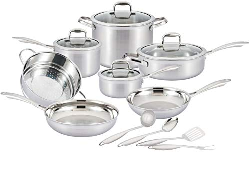 Nevlers Multi-Clad Stainless Steel Cookware Sets - 15 Piece Pots and Pans Set